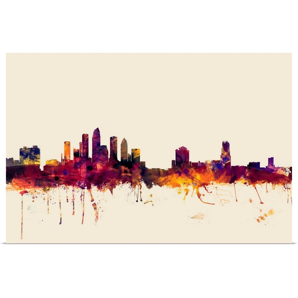 Tampa Florida Skyline Poster Art Print, Tampa Home Decor
