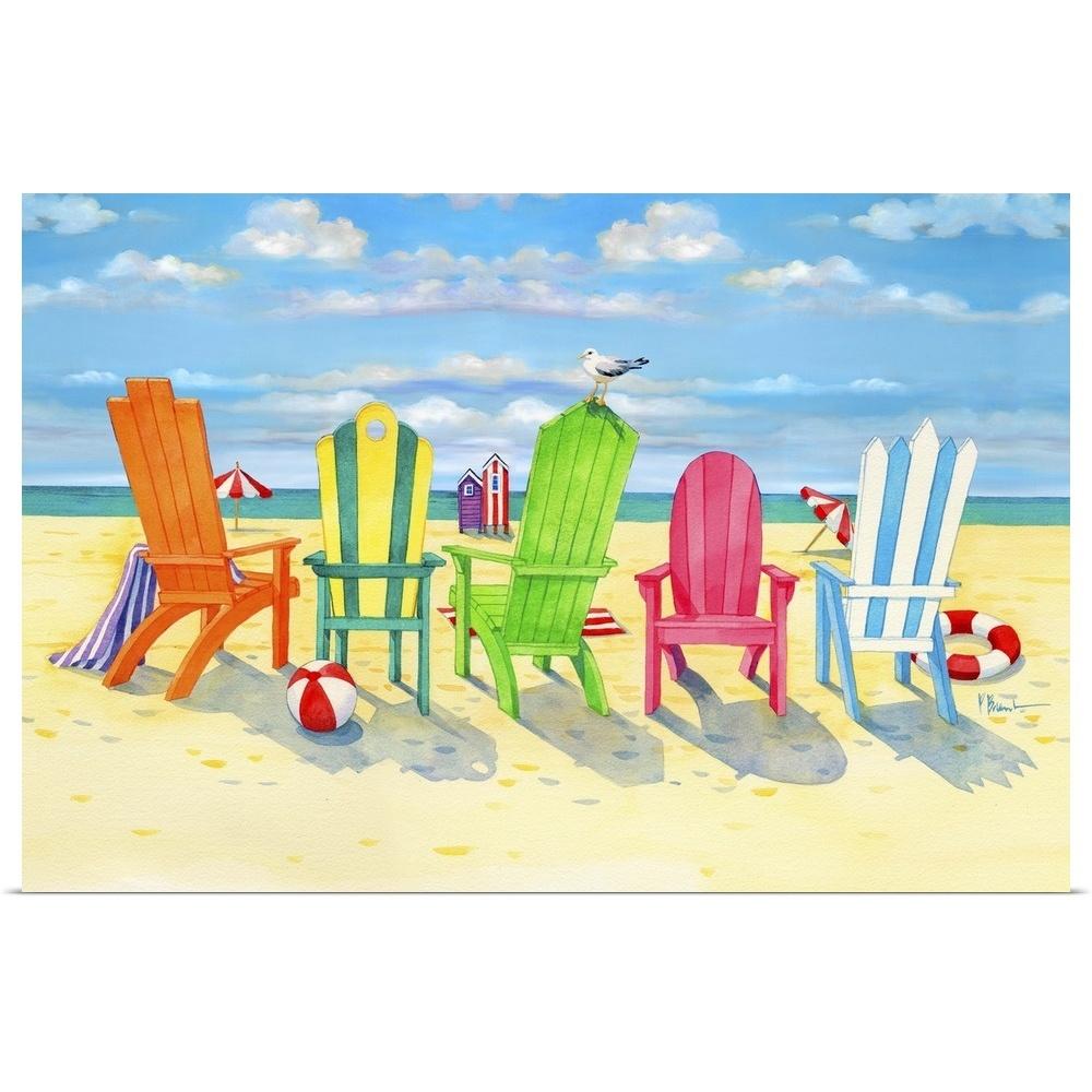 Brighton Beach Chairs Poster Art Print, Coastal Home Decor