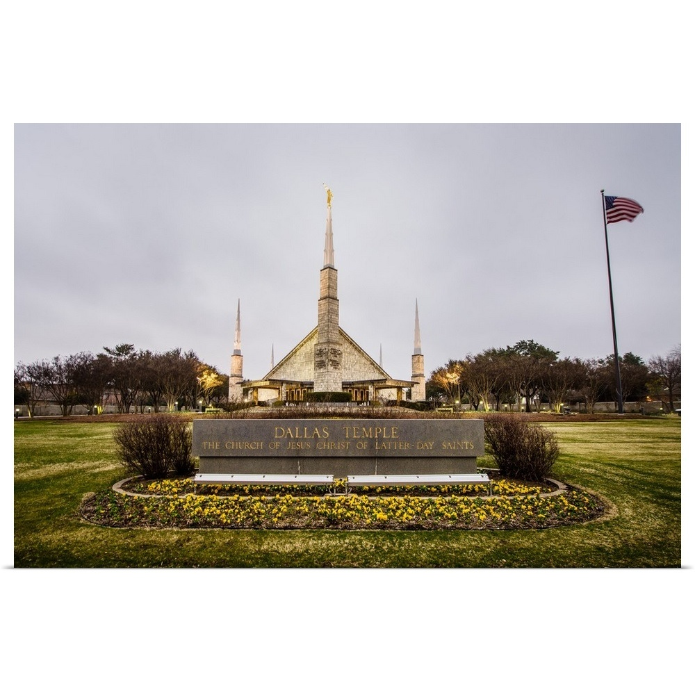 Temple Texas Traditional Home: Dallas Texas Temple Sign And Flag, Texas Poster Art Print