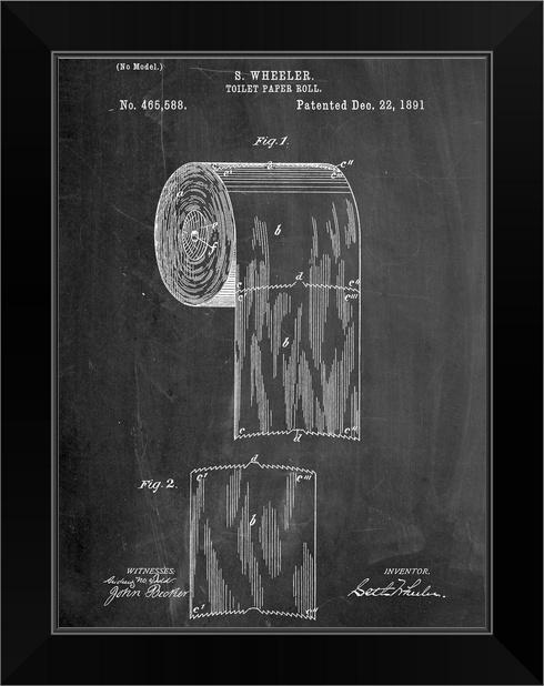 Sanitary Paper Black Framed Wall Art Print, Blueprint Home Decor