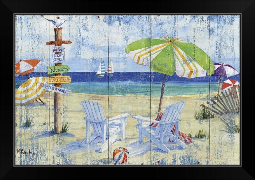 Beach Signs - Adirondack Chairs Black Framed Wall Art Print,