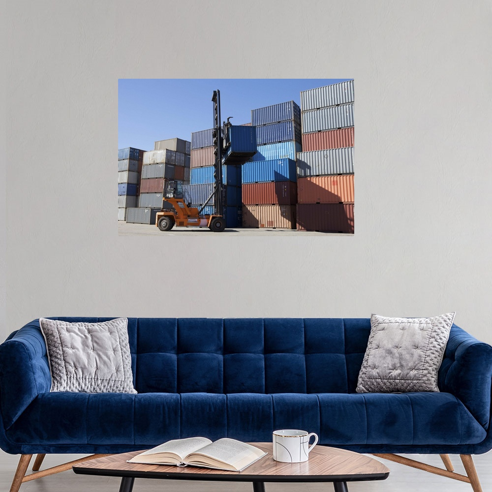 shipping containers being stacked up poster print ebay. Black Bedroom Furniture Sets. Home Design Ideas