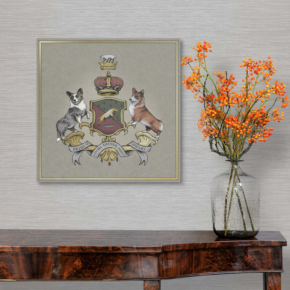 The Corgi Sigil Canvas Wall Art Print Dog Home Decor