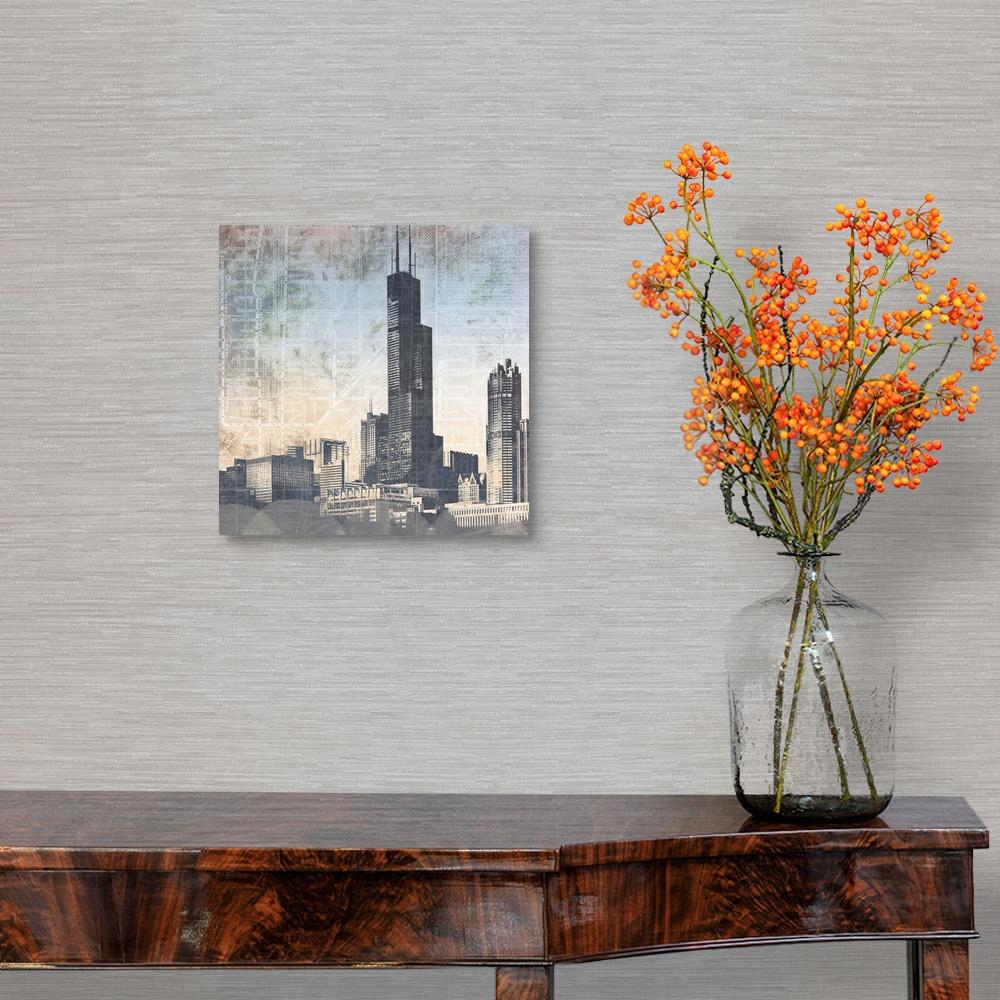 Chicago Home Decor Chicago Skyline I Canvas Wall Art Print