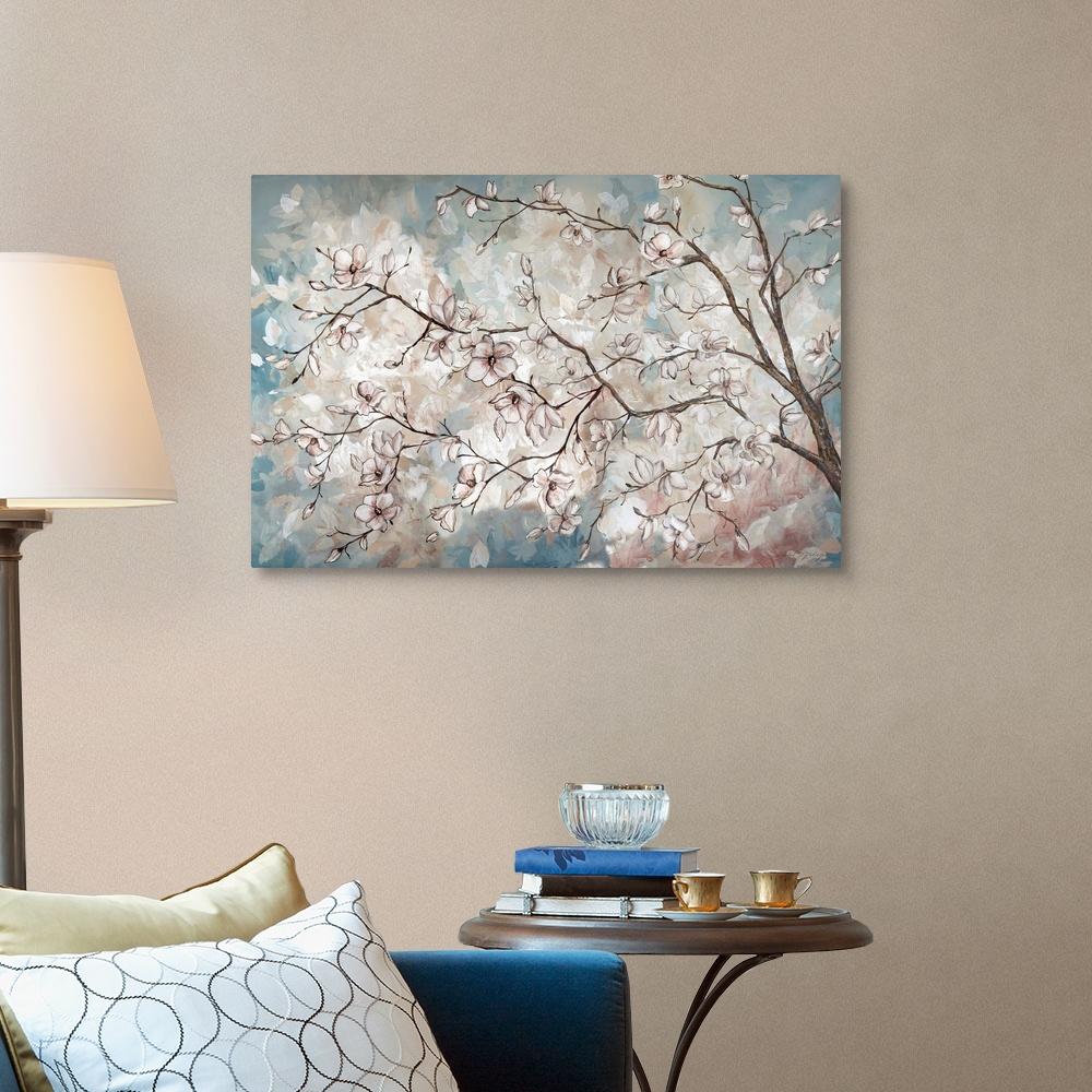 Magnolia Branches on Blue Canvas Art Print
