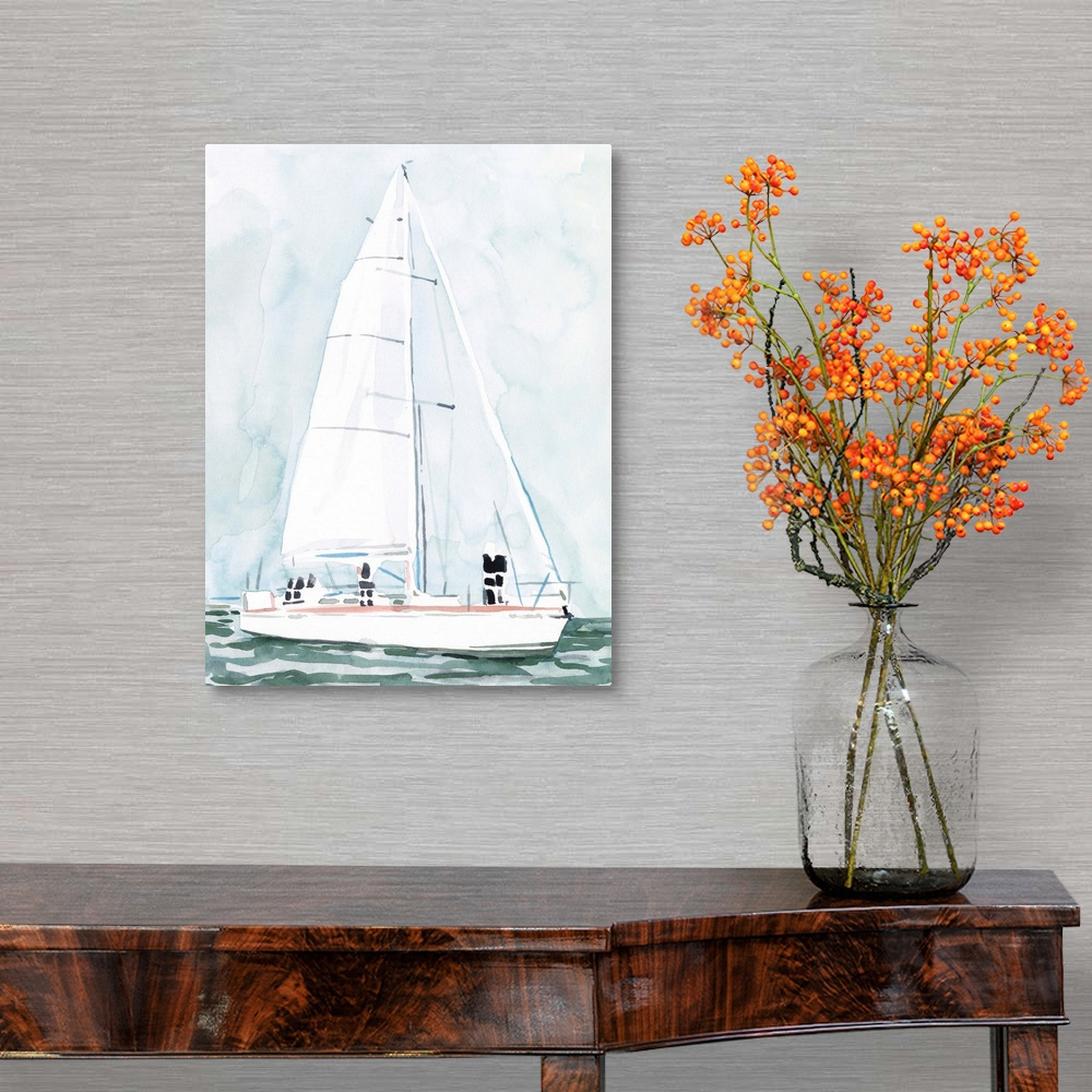 Soft Sailboat III Canvas Art Print