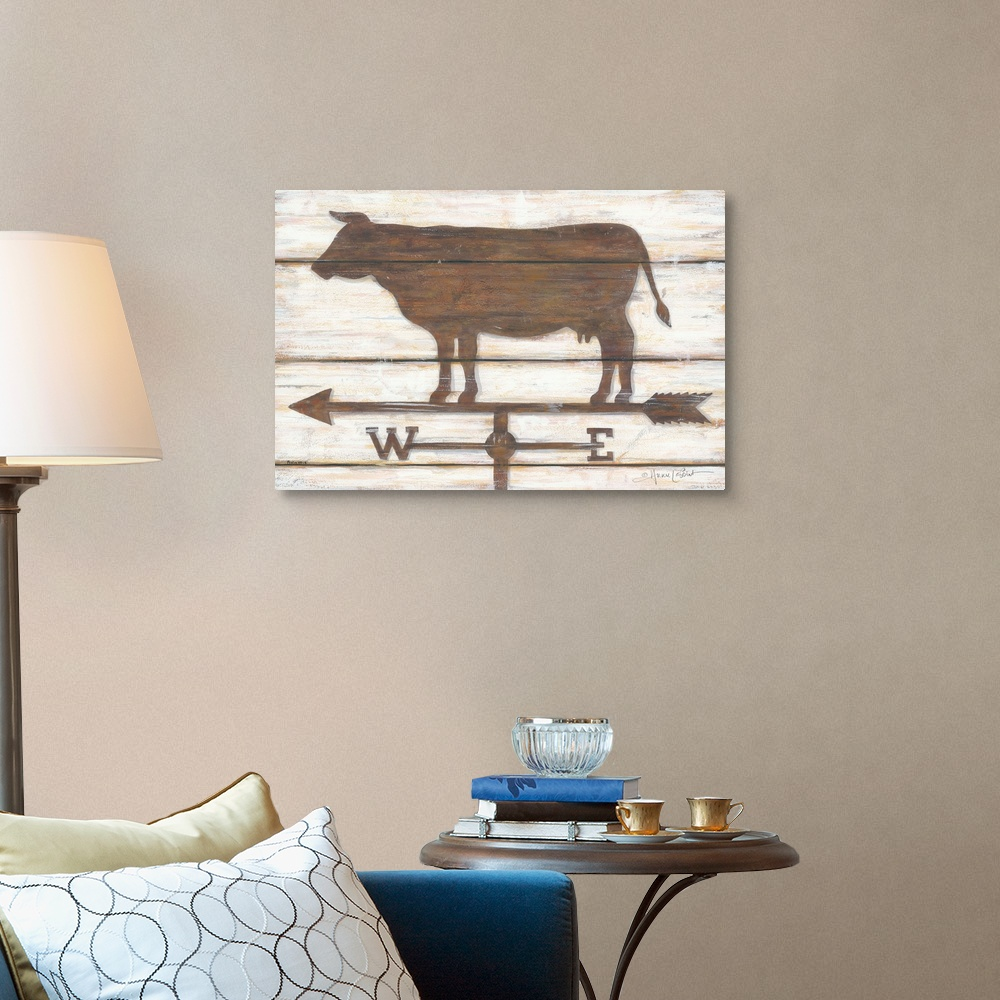 Home Decor Farmhouse Cow Canvas Wall Art Print