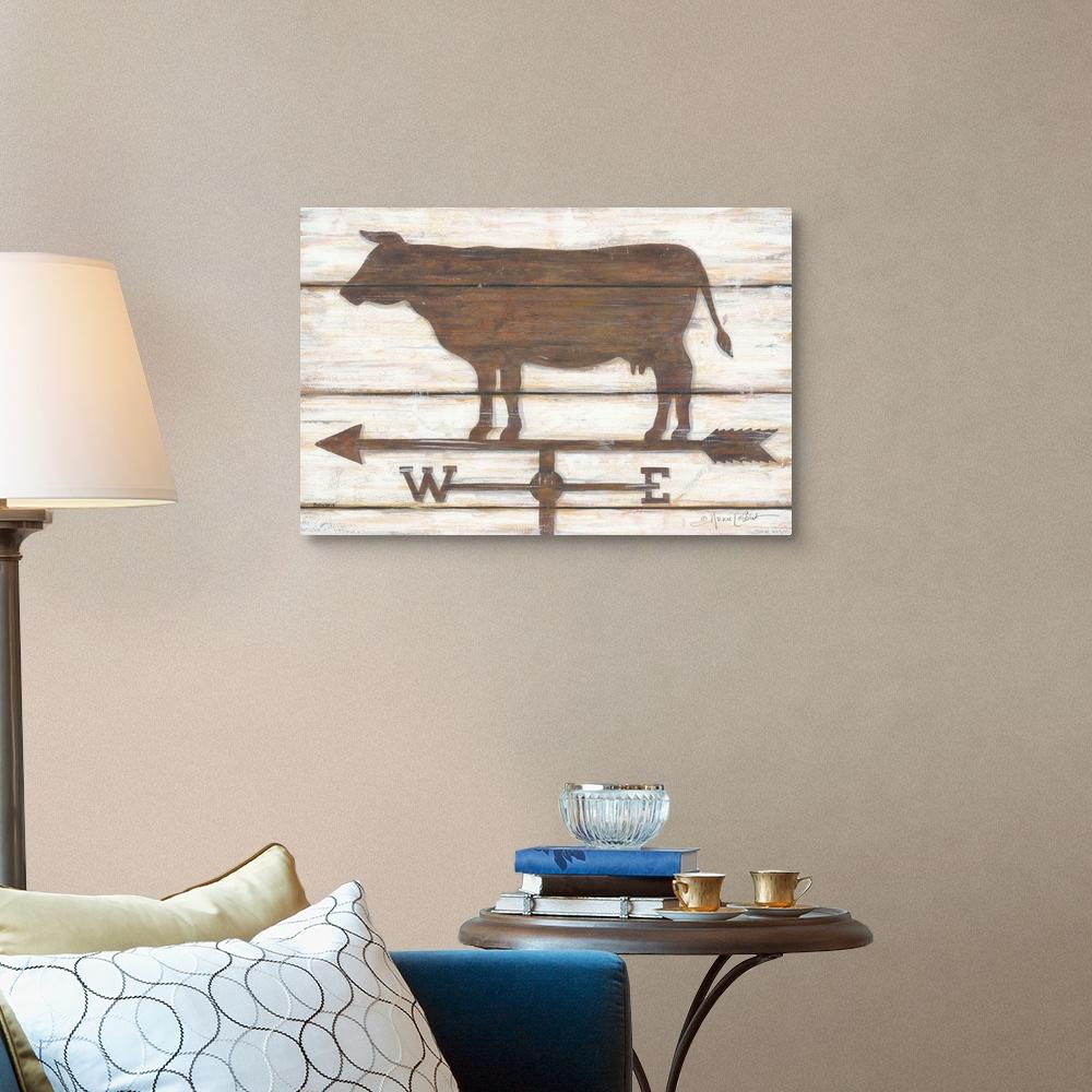 Home Decor Farmhouse Cow Canvas Wall Art Print