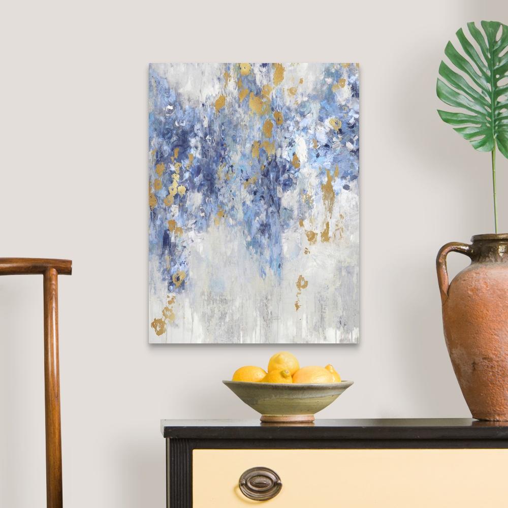 Cascade Blue with Gold Canvas Art Print