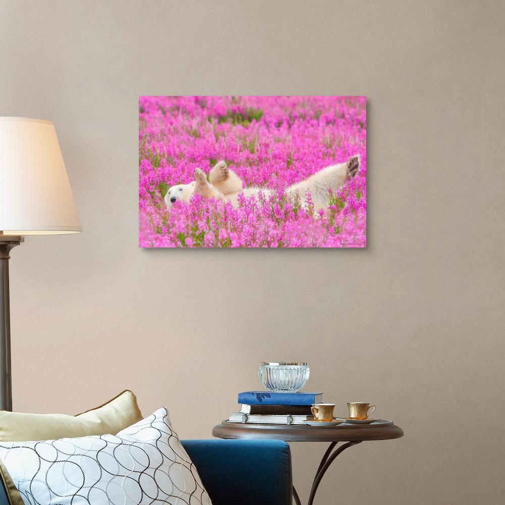 Polar-Bear-Waving-In-A-Bed-Of-Fireweed-Canvas-Art-Print thumbnail 7
