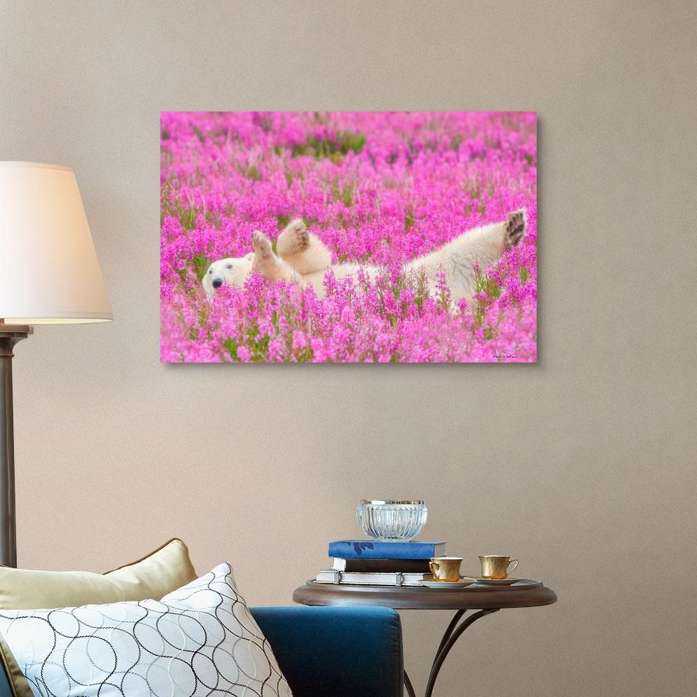 Polar-Bear-Waving-In-A-Bed-Of-Fireweed-Canvas-Art-Print thumbnail 8