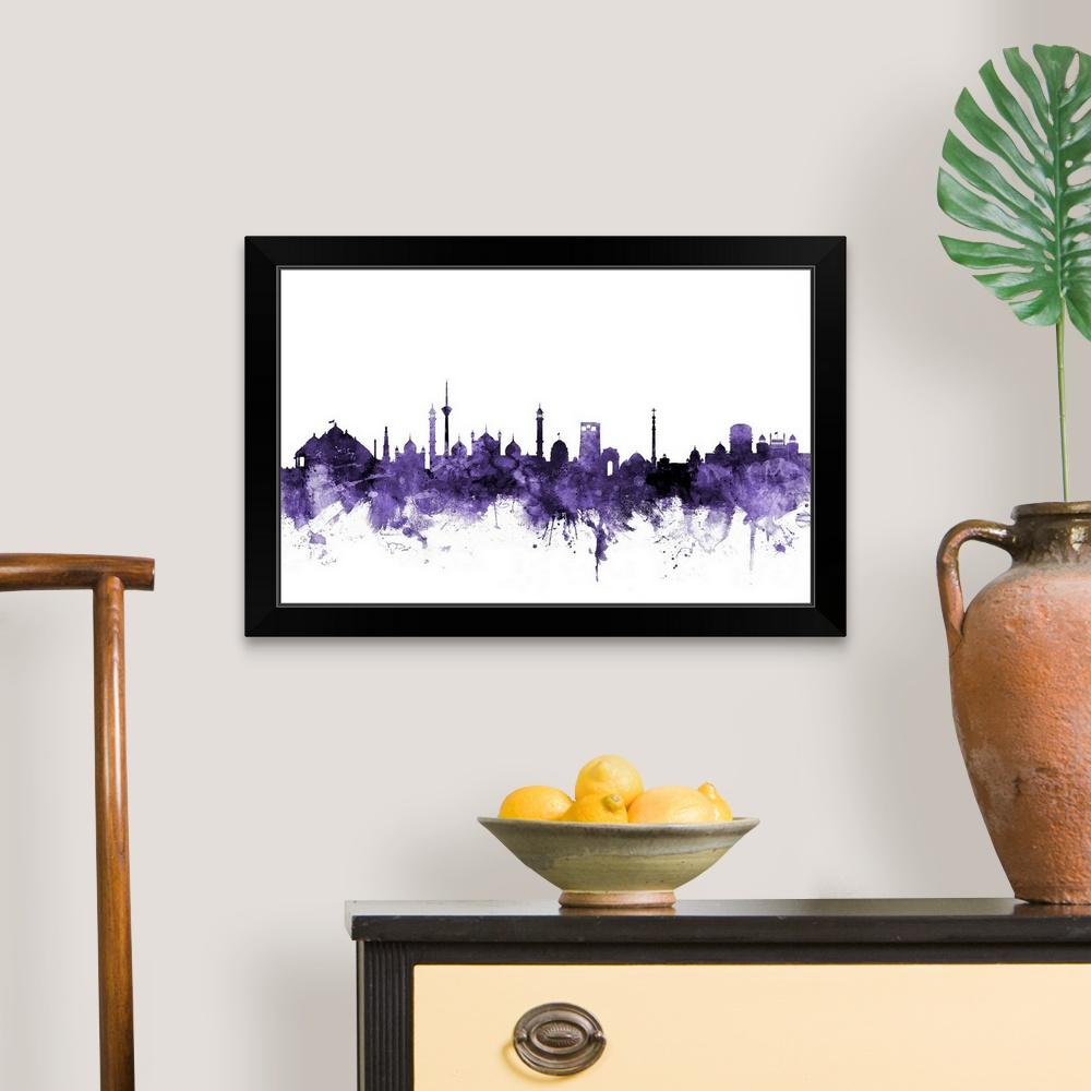 N85 Residence In New Delhi India: New Delhi India Skyline Black Framed Wall Art Print