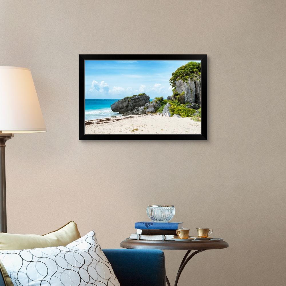Coastal Home Decor Riviera Maya in Tulum Black Framed Wall Art Print
