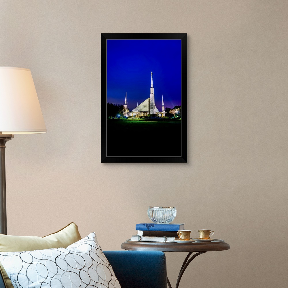 Temple Texas Traditional Home: Dallas Texas Temple At Night, Texas Black Framed Wall Art