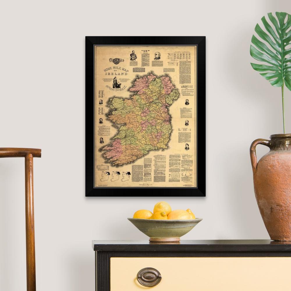 """Черный в рамке художественная печать /""""самоуправляющихся карта Ирландии/"""""""