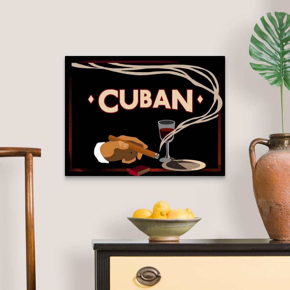 Cuban Vintage Cigar Advertisement Canvas Wall Art Print Cuba Home Decor Ebay