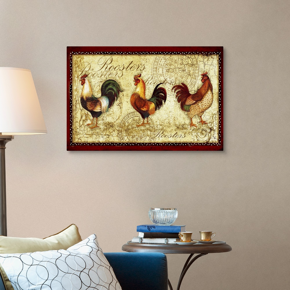 Home Décor Rooster Home Decor Rooster Trio Canvas Wall Art Print ...