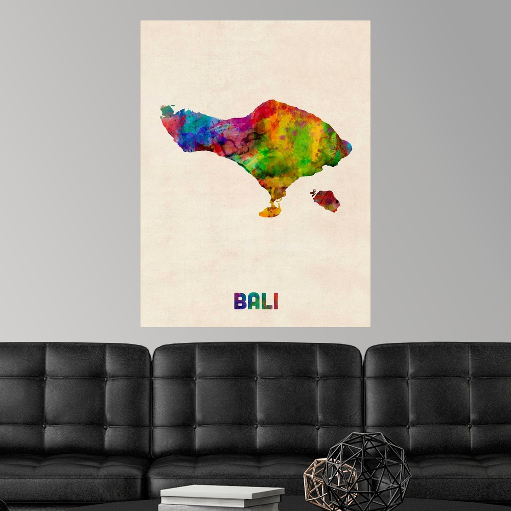 Bali Watercolor Map Poster Art Print Map Home Decor Ebay