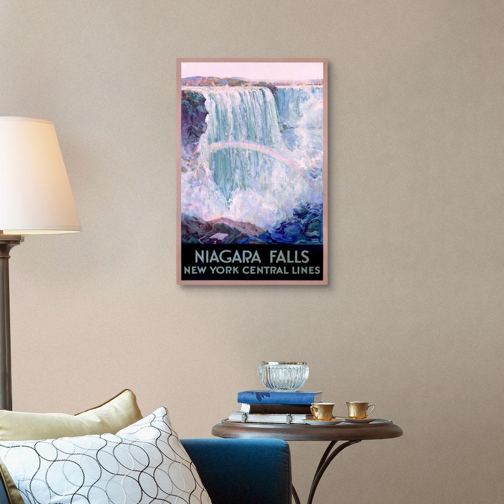 New York Home New York Central Lines Niagara Falls Canvas Wall Art Print