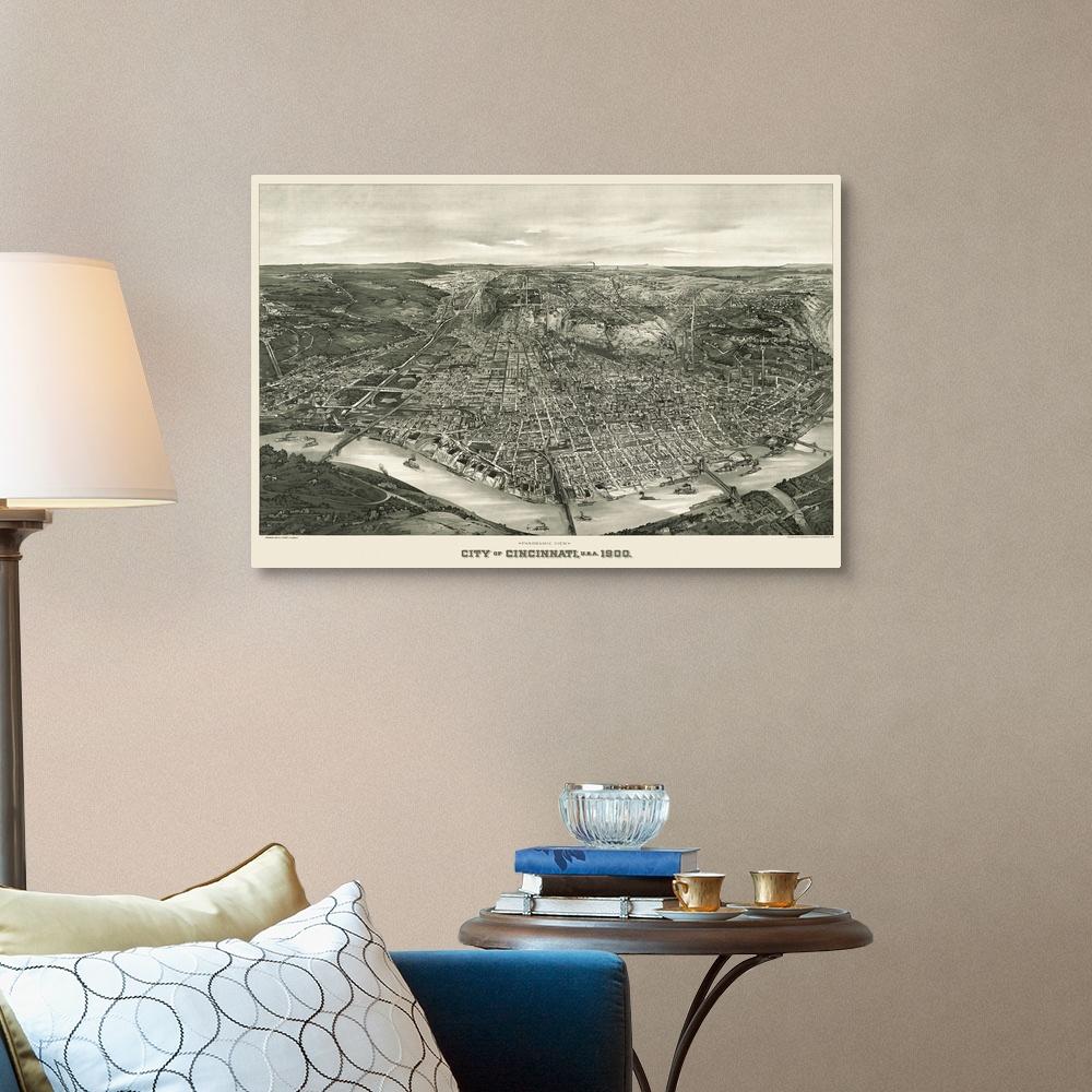 Cincinnati Home Decor Vintage Birds Eye View Map of Canvas Wall Art Print