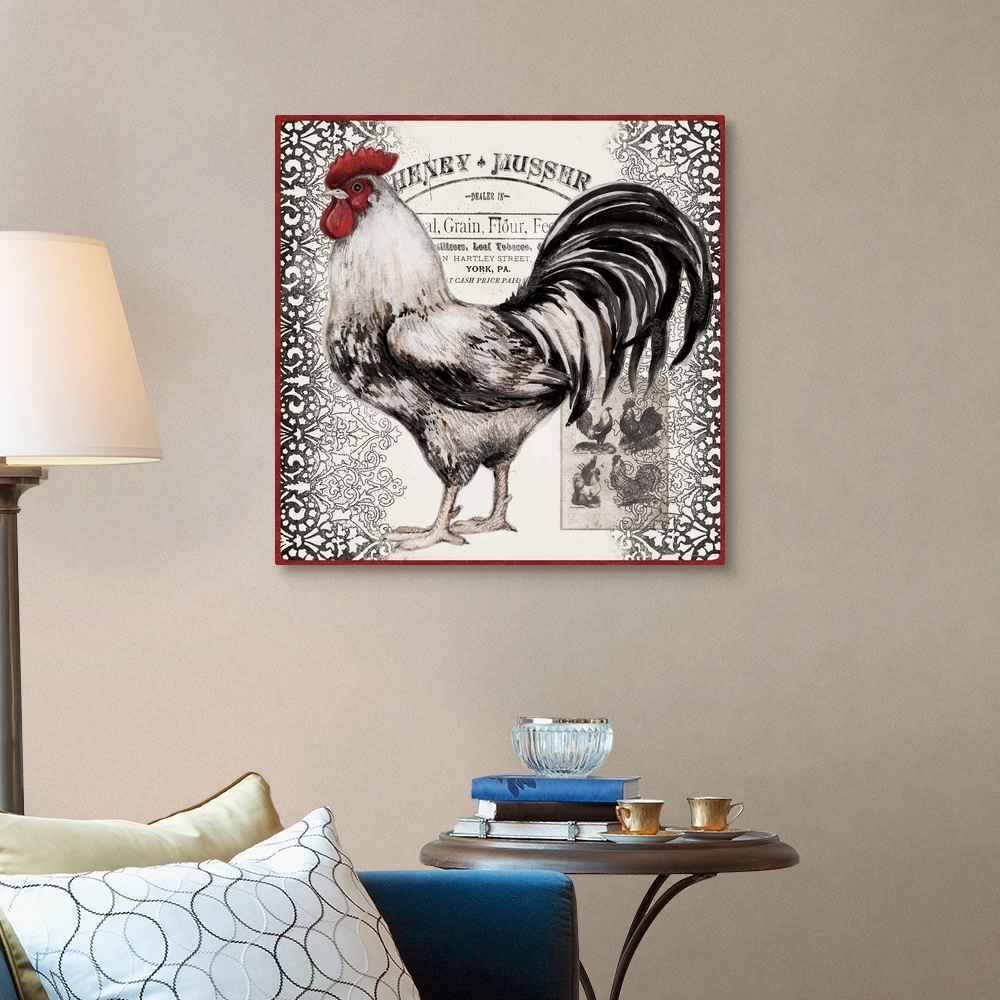 Rooster Home Decor Black and White Rooster Canvas Wall Art Print
