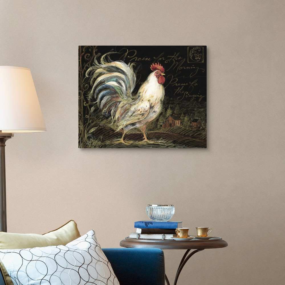 Rooster on Black Canvas Wall Art Print Rooster Home Decor