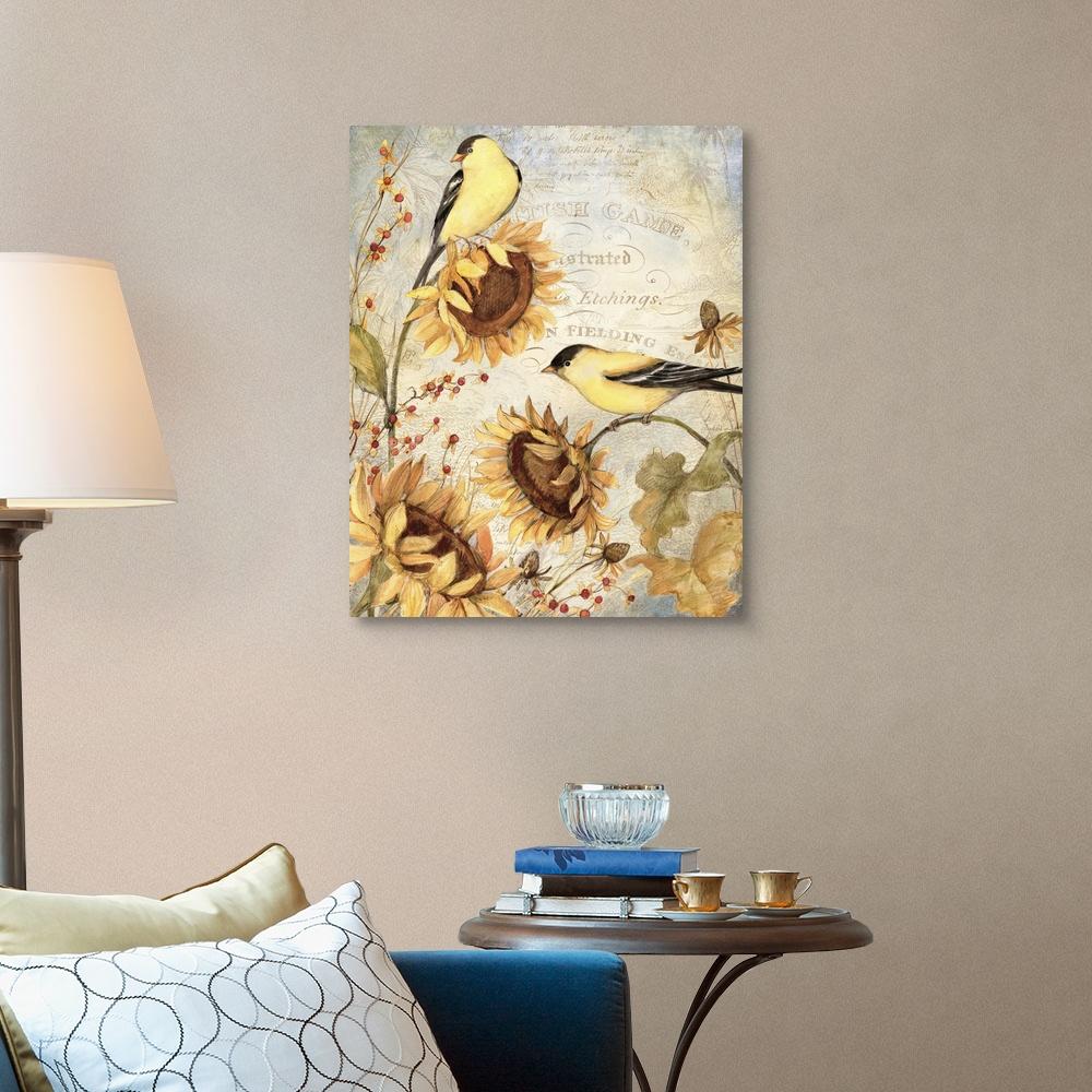 Bird Home Decor Sunflowers with Birds Canvas Wall Art Print
