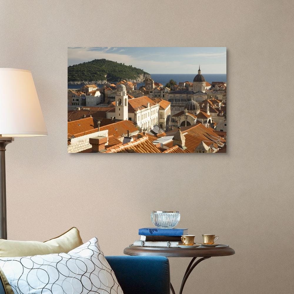 Croatia Home Decor Red Tile Canvas Wall Art Print Dubrovnik Dalmatia