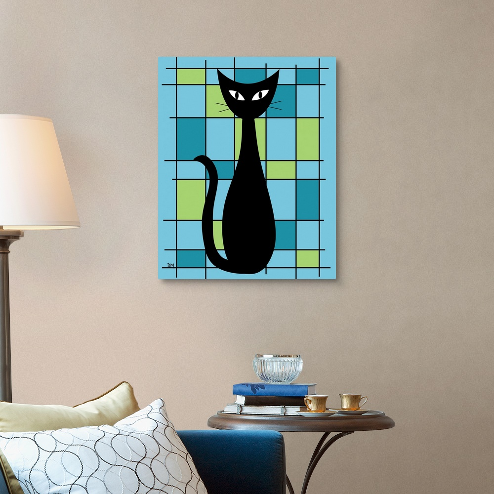 Abstract-with-Cat-in-Blue-Canvas-Wall-Art-Print-Cat-Home-Decor thumbnail 4