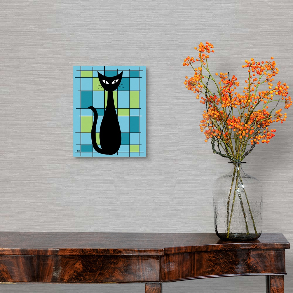 Abstract-with-Cat-in-Blue-Canvas-Wall-Art-Print-Cat-Home-Decor thumbnail 2