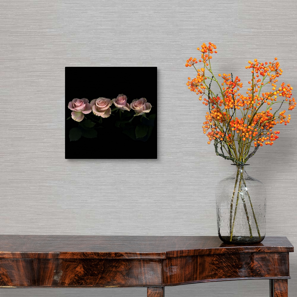 Rose Home Decor Canvas Wall Art Print Pink roses on black background