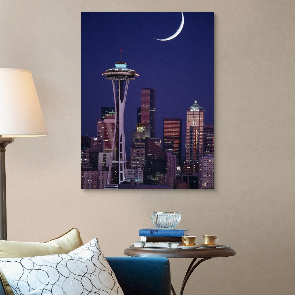 Seattle skyline at night Home Decor Washington Canvas Wall Art Print