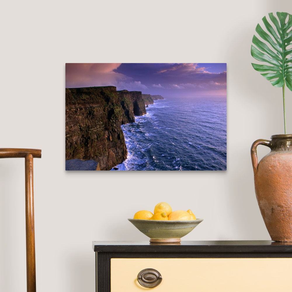 Home Decor Stormy evening at the Cliffs of Moher Canvas Wall Art Print