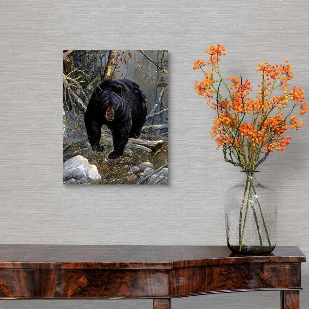 Hauter of the Pine Canvas Wall Art Print Bear Home Decor