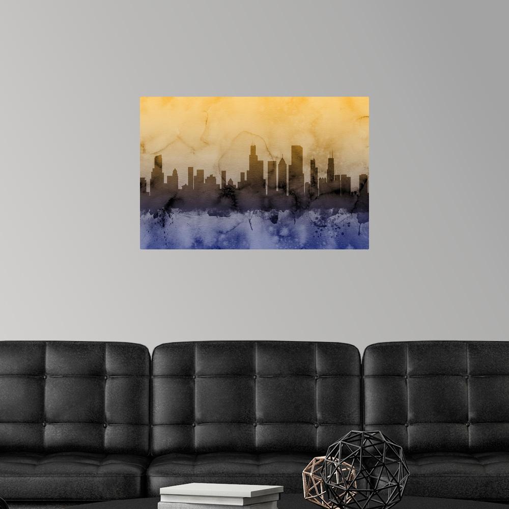 Chicago Illinois Skyline Poster Art Print Chicago Home Decor