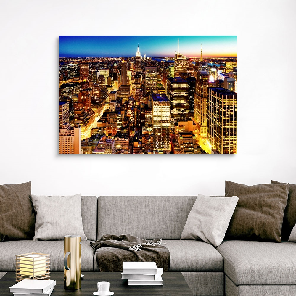 New York City Home Decor Manhattan Skyline at Night Canvas Wall Art Print