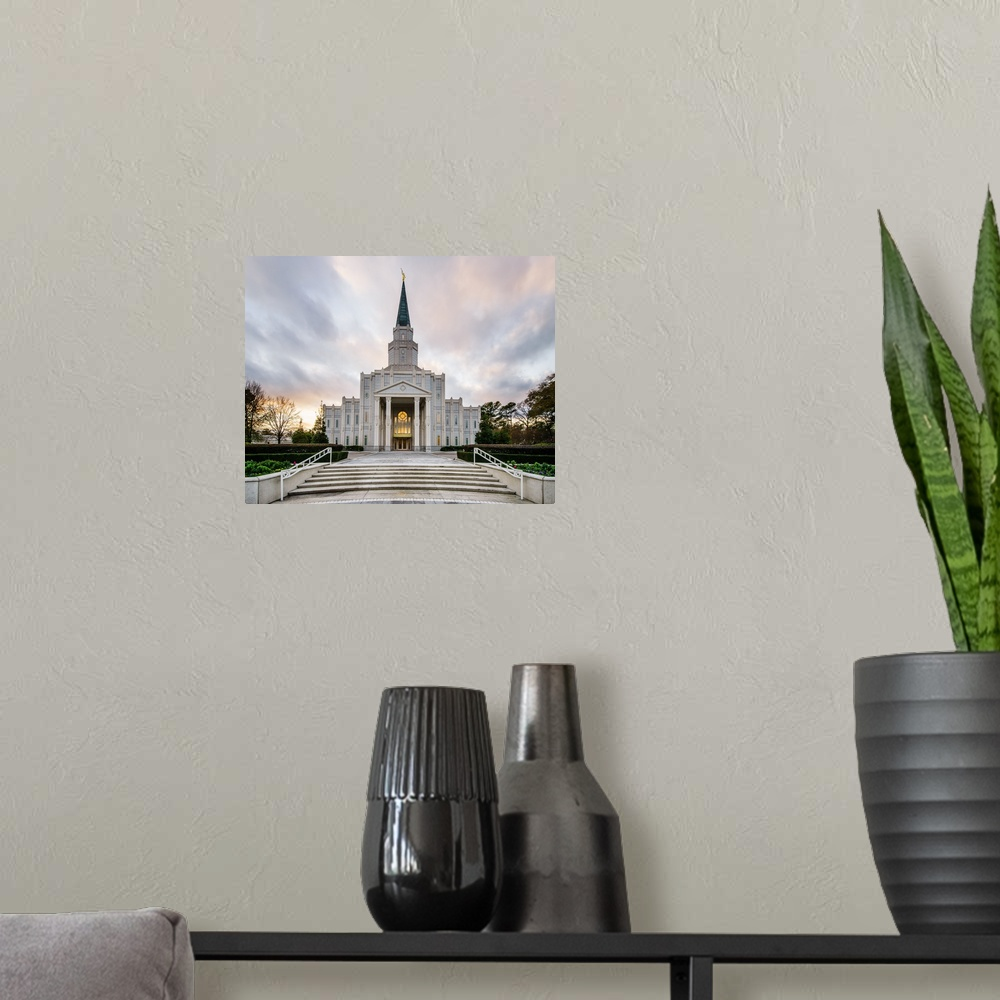 Temple Texas Traditional Home: Houston Texas Temple, Stairs, Spring, Poster Art Print