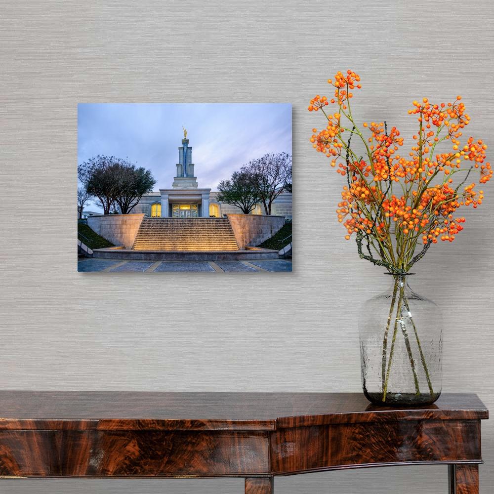 Temple Texas Traditional Home: San Antonio Texas Temple, Fountain And Canvas Wall Art