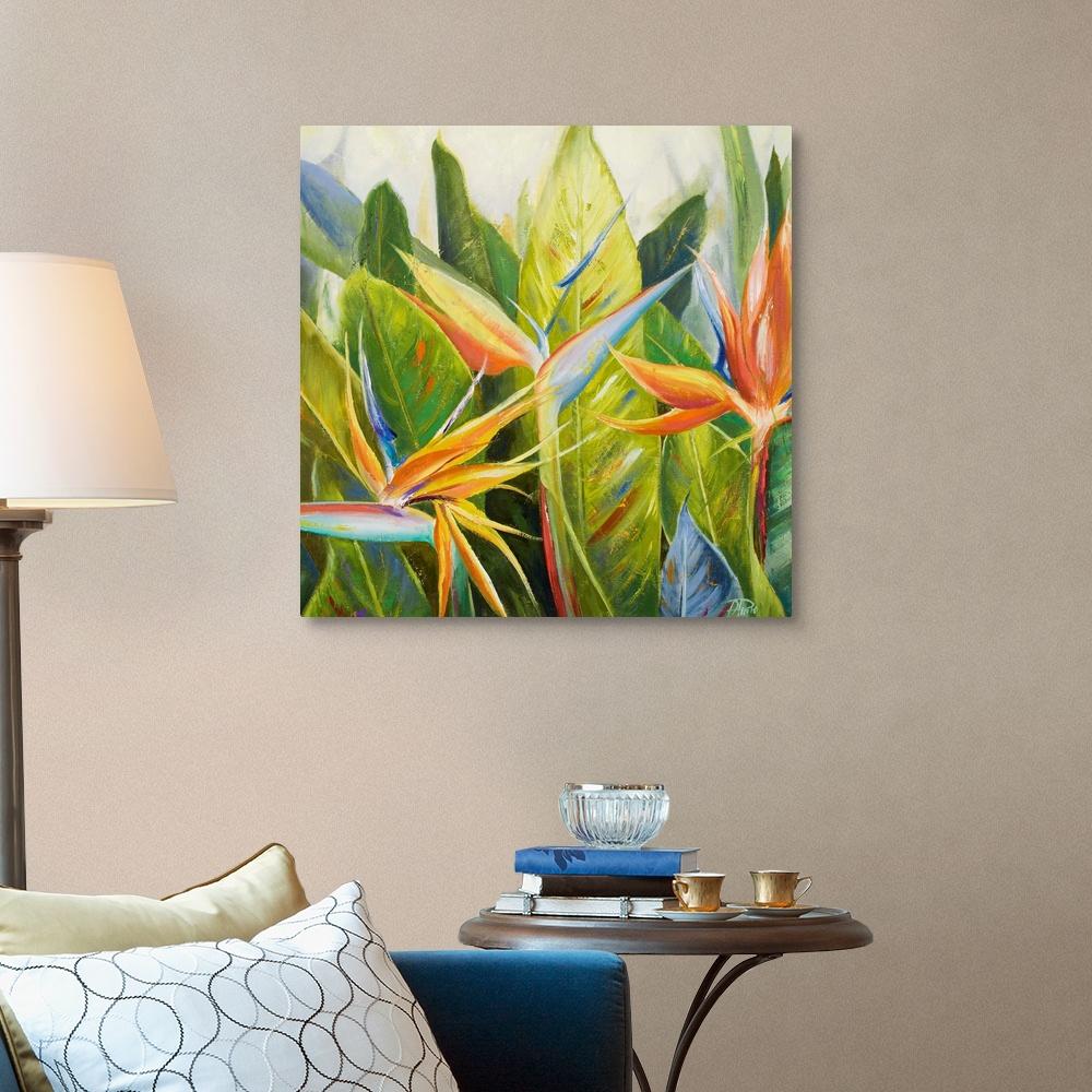 Floral Home Decor Bird of Paradise I Canvas Wall Art Print