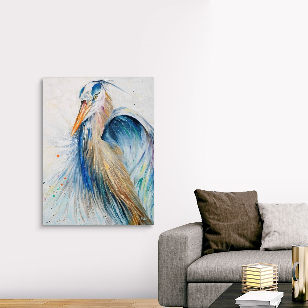 Bird Home Decor New Blue Heron II Canvas Wall Art Print