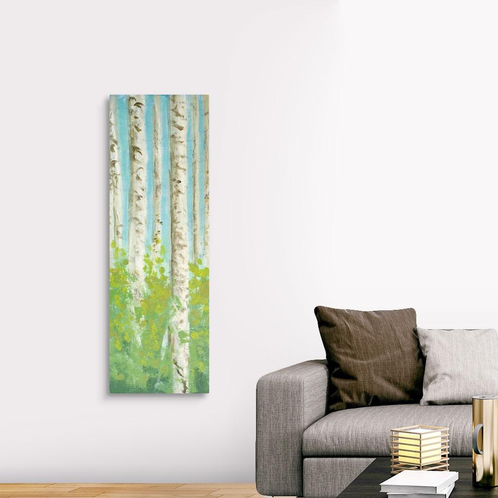 Vibrant Birchwood I Canvas Wall Art Print, Tree Home Decor ...