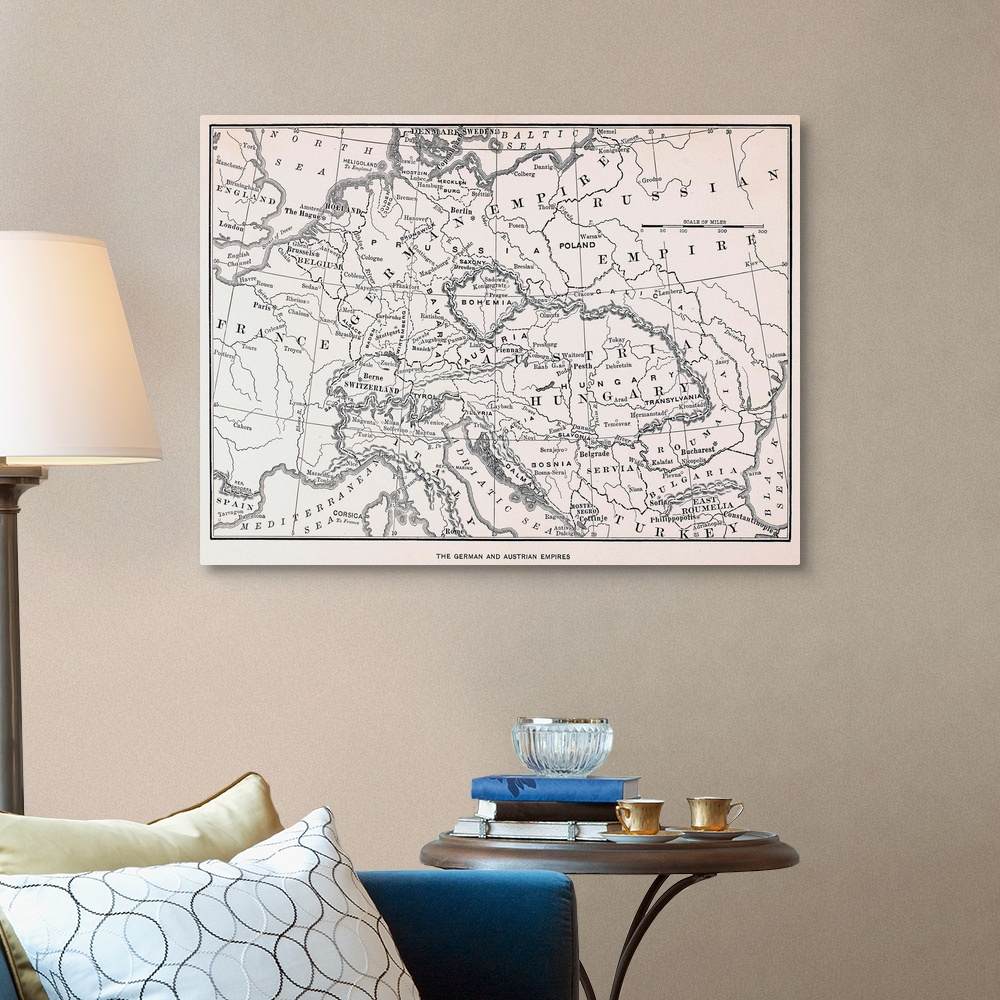 Map, Germany And Austria Canvas Wall Art Print, Map Home ...